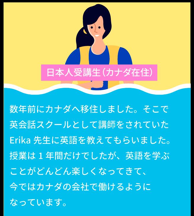 海外旅行に行くことが夢で、 Erika先生の オンライン授業を受講しました。 Erika先生のおかげで1人で世界中どこに でも行けるくらいの英語力が身についている と実感しています。コロナが終息したら、 まずはカナダ旅行に行ってErika先生に お礼を言いたいです。